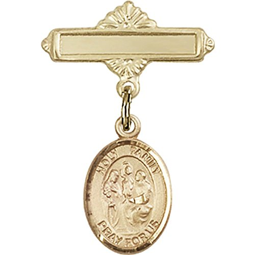 14kt Yellow Gold Baby Badge with Holy Family Charm and Polished Badge Pin 1 X 5/8 inches by Unknown
