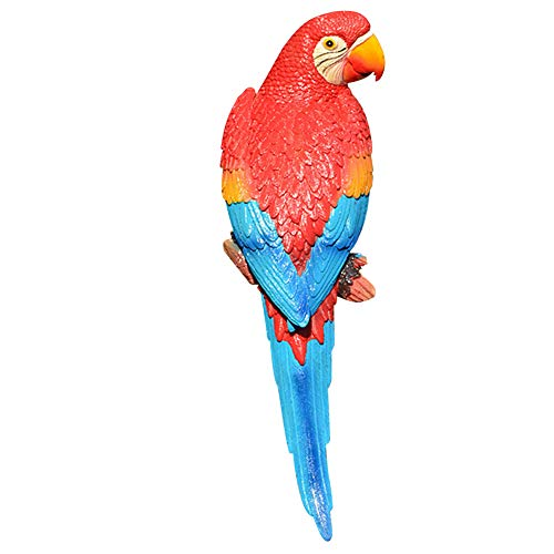 - Unicoco Resin Parrot Figurine Red Tropical Macaws Wall Sculpture Bird Statue Home Decor Simulation Parrot Model