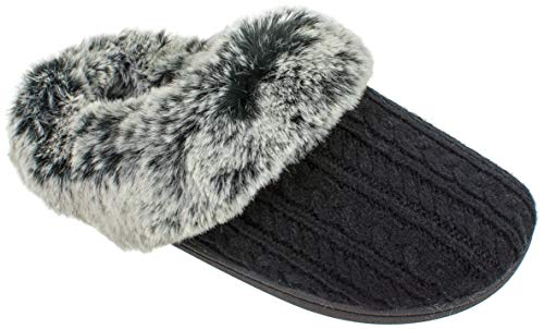 IZOD Women's Slippers, Casual Fuzzy Warm Slip-on Scuff Clog, Large / 9-10, Black White