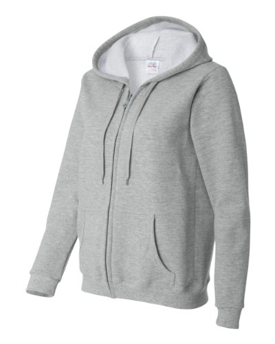 Gildan Activewear Heavy Blend Ladies' Full-Zip Hooded Sweatshirt, L, Sport Grey