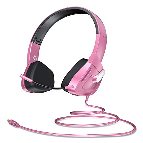 VersionTECH. Stereo Gaming Headset for Kids Teenagers Girls Boys, Foldable On Ear Headphone Earphones with Detachable Microphone, 85dB Volume Limited for PC, PS4, Xbox 1, NS, Tablet, Cellphones(Pink)