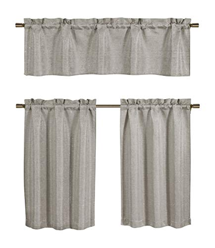 Kensie Jane Linen Textured Sequin Jacquard Kitchen Tier & Valance Set | Small Window Curtain for Cafe, Bath, Laundry, Bedroom, Grey