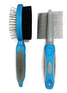 Brush and Comb Set, With 100% Money Back Guarantee. Dog Grooming, Dog Bristle Brush and Dog Comb, Dog Brush Pin, Dog Comb with Handle, Dog Comb Metal. Ideally Sized for a Full Variety of Dog Breeds. Our Brush and Comb Set Is a Combination of Both a Double Sided Brush and Comb That Offers Optimal Grooming for your Dog