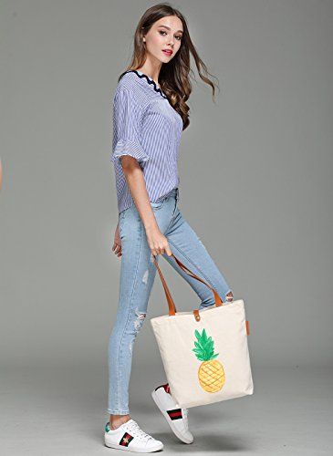 So'each Women's Pineapple Art Painter Graphic Top Handle Canvas Tote Shoulder Bag