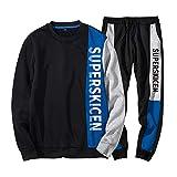 DaySeventh Men's Autumn Winter Patchwork Sweatshirt Top Pants Sets Sports Suit Tracksuit