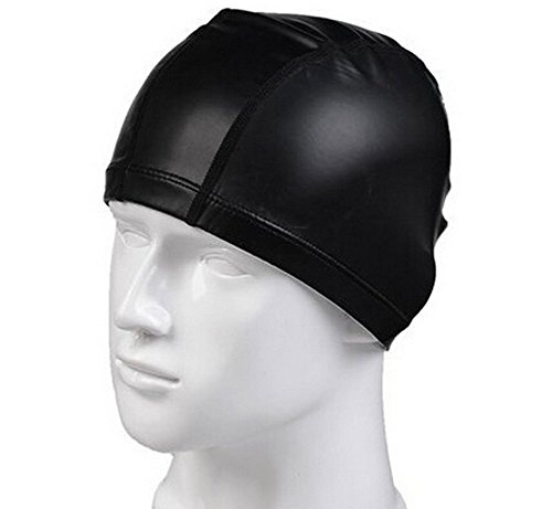 Eforstore Unisex Adult Solid Lycra Fabric Swim Cap PU Coating Cover Waterproof and Breathable Swimming Cap (Black)