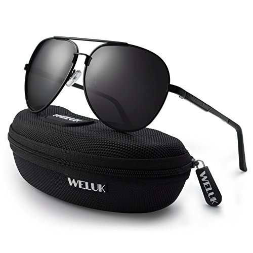 WELUK Men's Military Style Aviator Suglasses Polarized 64mm Al-Mg Frame for Fishing Driving (Black/64mm)