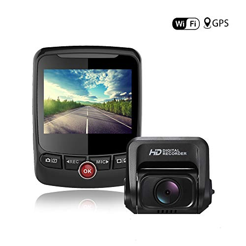 Dual Dash Cam GPS Wi-Fi Full HD 1080P Front and Rear Camera with 2.4 LCD Display 170 Wide Angle, Night Vision,G-Sensor,Loop Recording,Motion Detection,Parking Mode, Super Capacitor