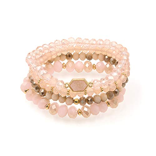 (DESIMTION Bohemian Multi-Layer Sparkly Crystal Bead Statement Bracelet - Pink Beaded Stretch Strand Stackable Bangle Set)