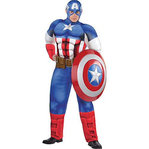Costumes USA Captain America Muscle Costume for Adults, Plus Size, Includes a Padded Jumpsuit, a Mask, and a Belt -