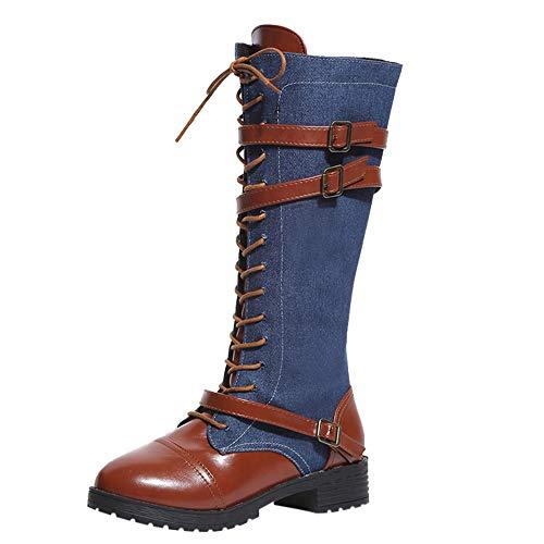【MOHOLL 】 Women's Sexy Knee High Boots Denim Roman Riding Knee High Straps Knee Boots Long Boots