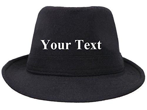 Custom Womens Mens Classic Structured Gangster Trilby Manhattan Fedora Hat,Black]()