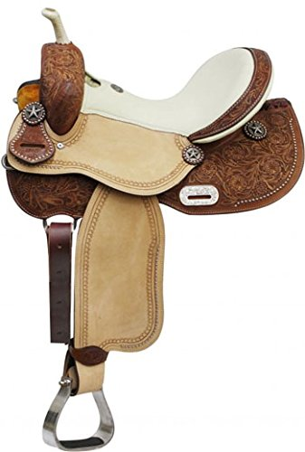 """14"""" 15"""" 16"""" Double T Barrel Style Saddle with Texas Star Conchos. Full Quarter Horse Bars (15"""")"""