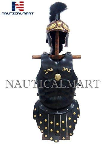 NAUTICALMART Royal Greek Muscle Armor Cuirass Greco Roman Helmet Costume