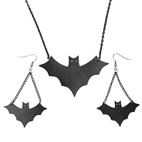 Hiddleston Goth Punk Leather Chandelier Bat Dangle Drop Earrings Choker Collar Pendant Neckace Jewelry Set Costume Accessory Women Teen Girl Pop Heavy -