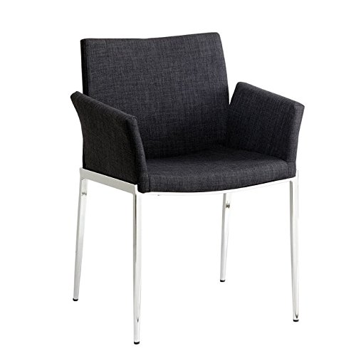 McKenzie Upholstered Dining Chairs Dark Grey and Chrome (Set of 2)