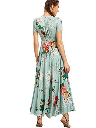 Milumia Women's Button Up Split Floral Print Flowy Party Maxi Dress Light Green XL