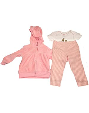 Baby Girl 3 Pc. Micro Set 12 Months, Pink Jacket, White Onesie W/Deer