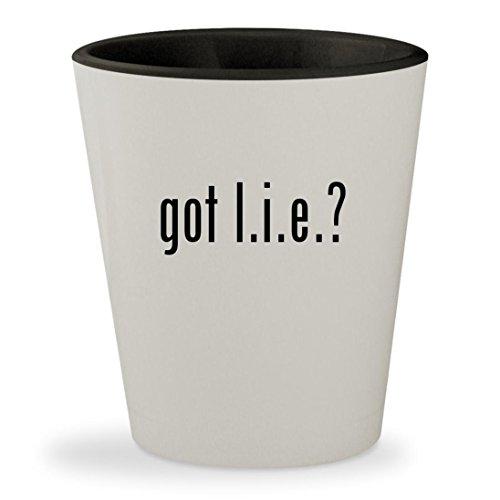 got l.i.e.? - White Outer & Black Inner Ceramic 1.5oz Shot - 2 Glasses No Chainz
