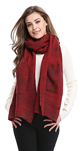 Womens Cute Winter Thick Warm Long Scarf Soft with Gloves Pocket