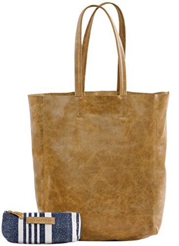 - The Aartisan Women's Vintage Leather Tote Bag 17 inch, Soft Full Grain Leather in Chestnut Color,Multi Functional Tote Bag