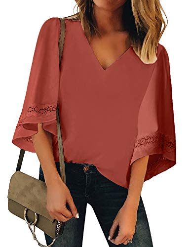 GRAPENT Women's Coral Casual Blouses Crochet 3/4 Bell Sleeve V Neck Loose Tops Shirt Size Small