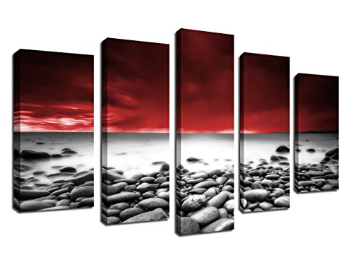 Canvas Wall Art Beach Sunset Red Sky Black and White Waves Stones Framed Ready to Hang, 5 Pieces Canvas Painting Modern Artwork Contemporary Picture for Home Decor