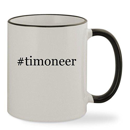 #timoneer - 11oz Hashtag Colored Rim & Handle Sturdy Ceramic Coffee Cup Mug, Black