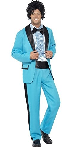 Mens 1980s 80s Prom King Retro Blue