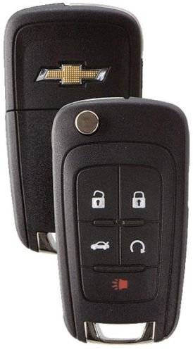 (Chevy Gm OEM Switchblade Flip Key 5 Button Remote 13504199 5912545 Logo Free Programming Instructions - ASK About KEY Cutting)