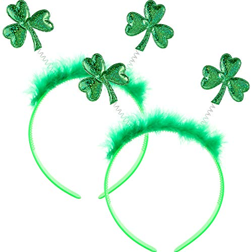 Zhanmai 2 Pieces St Patrick's Day Head Boppers Green Glitter Shamrock Headband with Fluff for St Patrick's Day Accessory]()