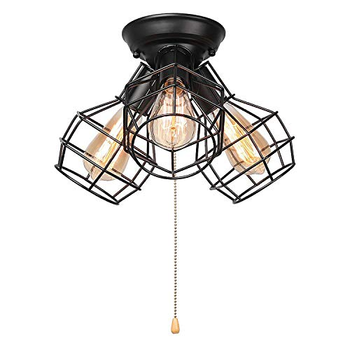 LALUZ 3-Light Wire Cage Ceiling Lighting with Pull String, Industry Close to Ceiling Light Fixture by LALUZ (Image #4)
