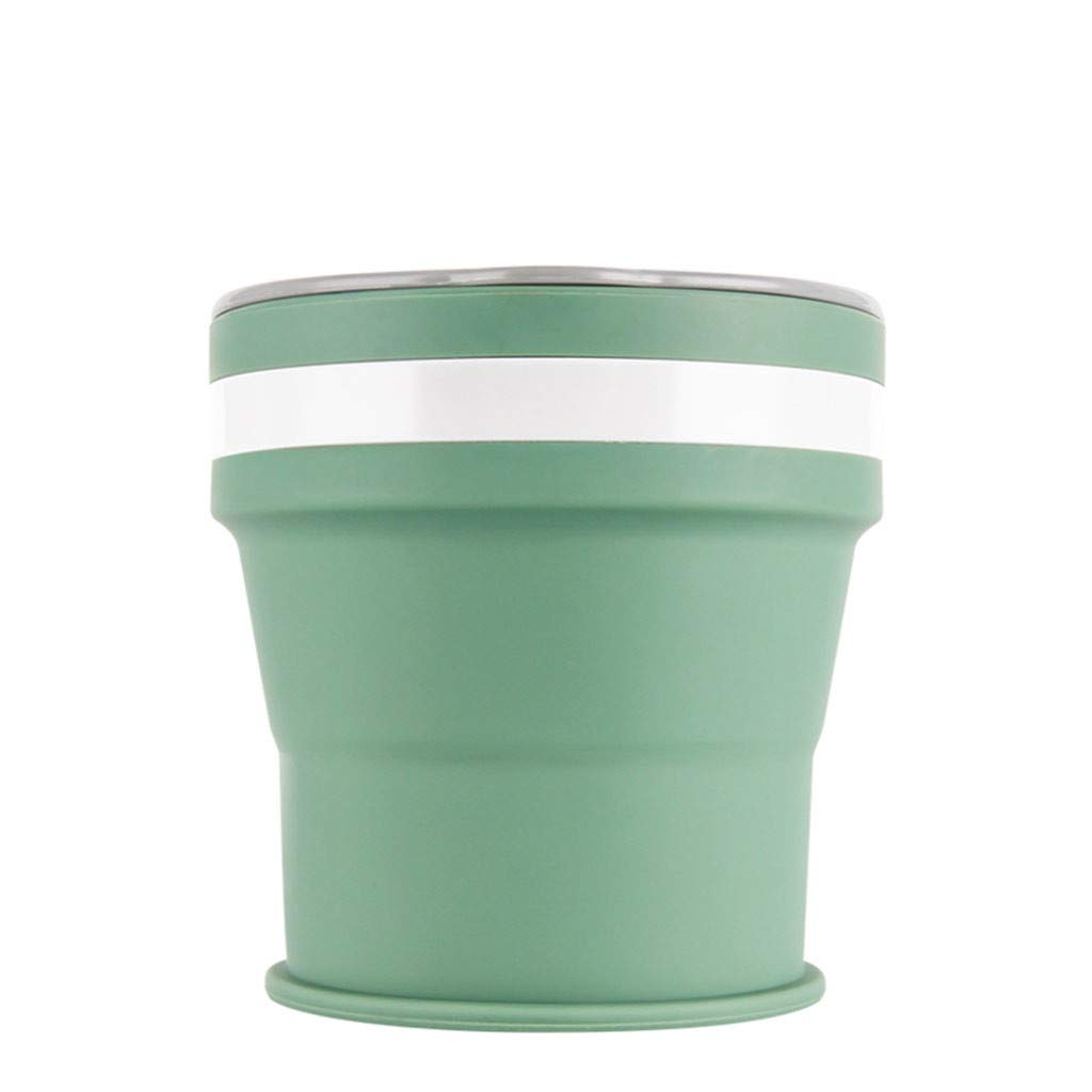 Portable Travel Silicone Retractable Folding Cup Men Women Telescopic Collapsible Cup (Green)