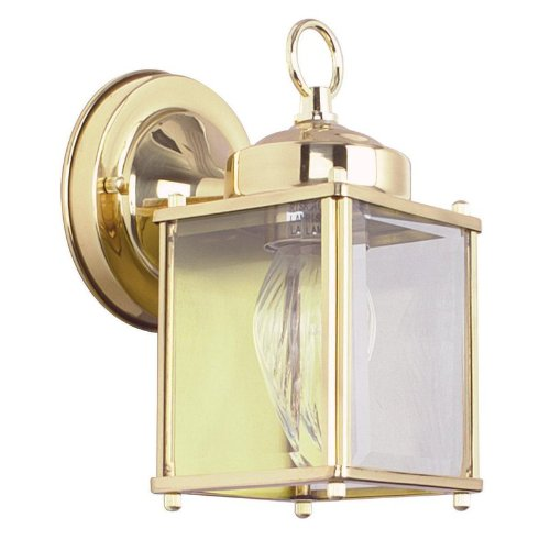 Sunset Lighting F6840-10 One Light Outdoor Wall Mount, Polished Brass Finish with Clear Beveled Glass 10 Polished Brass Outdoor Sconce