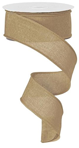 Solid Canvas Wired Edge Ribbon, 10 Yards (Beige, 1.5