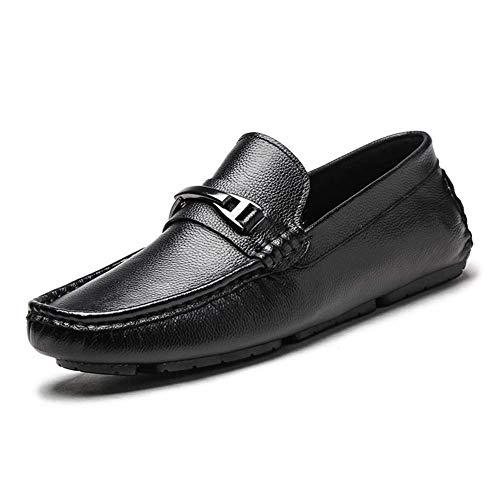 Talla Mocasines UK US Casuales 7 de Hombres Color 8 Redonda UK Azul Cuero Slip cómodos 5 8 HhGold On Color Cabeza para tamaño 7 Zapatos Hombres para 5 US Negro Azul de XH8qAnXxTR