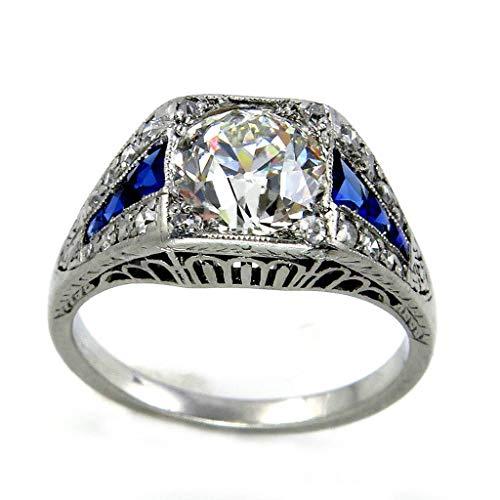 FEDULK Womens Wedding Engagement Jewelry Square Diamond Blue Zircon Pierced Anniversary Ladies Promise Rings(Silver, 6)