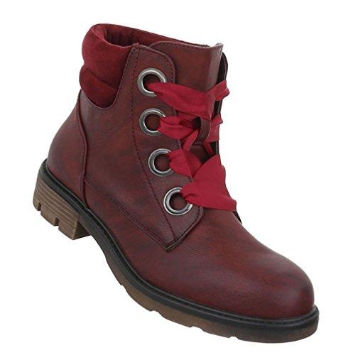 Damen Schuhe Stiefeletten Schnürer Boots Weinrot