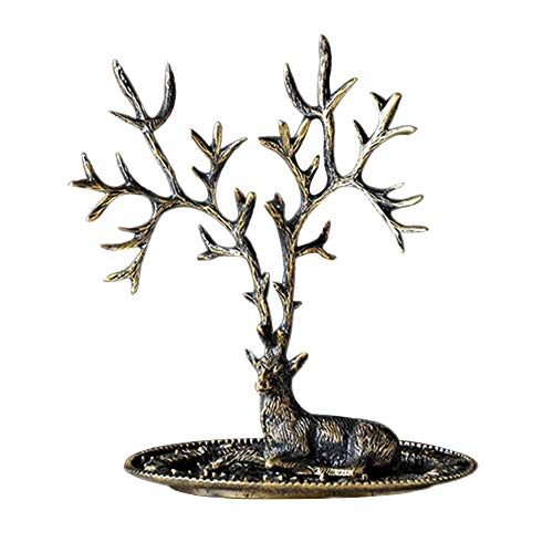 HM&DX Vintage Tree Jewelry Organizer Holder, Bronze Finish Each Display Tray Jewelry Stand for Earrings Rings Necklace Rack Tower-A S
