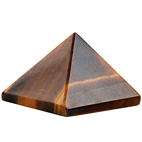 rockcloud Healing Crystal Tiger's Eye Pyramid Metaphysical Stone Figurine