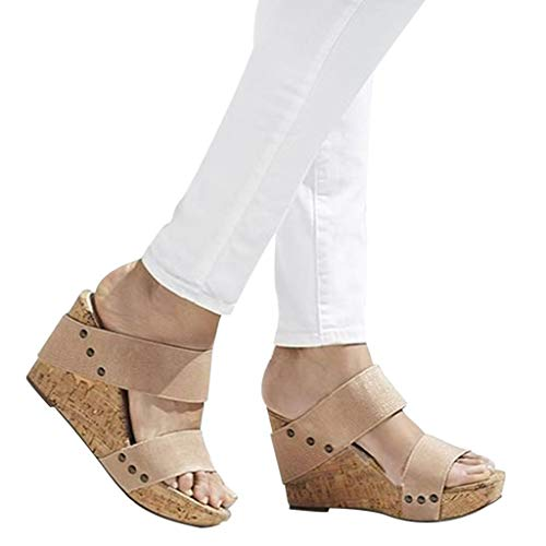 - Wedges Sandals, Summer Fashion Wedges Platform Shoes Belt Buckle Hook-Loop Thick Bottom Wedge Sandals Roman Slippers (US:7, Beige)
