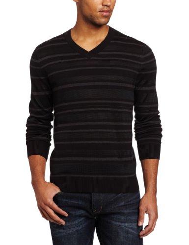 Kenneth Cole New York Men's Stripe V-Neck Sweater