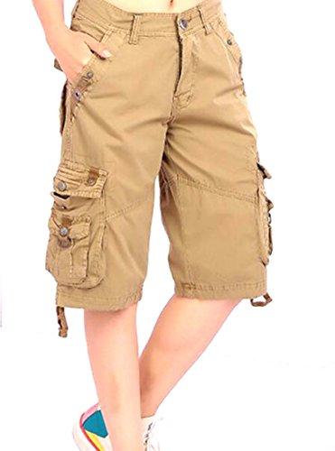 Women : Pleated Shorts Khaki - 8
