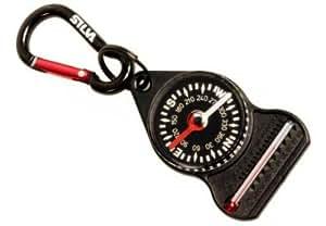 Silva - Llavero con brújula y termómetro (con mosquetón 10), color negro y rojo