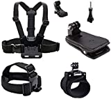 Allezintl Chest Mount Strap Head Mount Backpack Mount Wrist Band Compatible with GoPro Hero 7, 6, 5, Black, Session, Hero 4, Black, Silver, Hero+ LCD, 3+, 3, 2, 1 with J Hook
