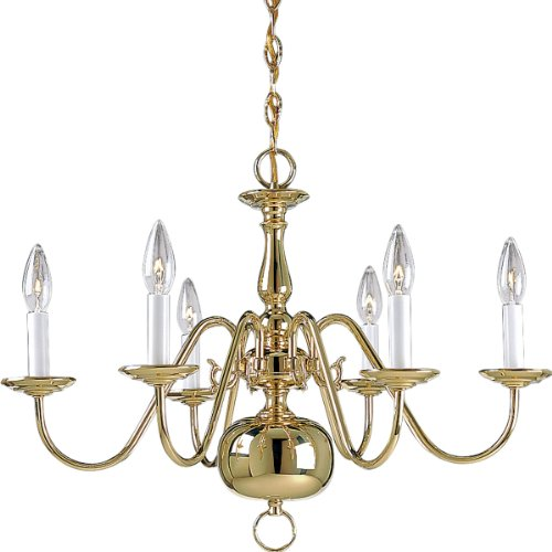 (Progress Lighting P4356-10 6-Light Americana Chandelier with Delicate Arms and Decorative Center Column and Candelabra Lamps, Polished Brass)