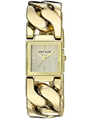 Anne Klein Womens AK/2664CHGB Gold-Tone Chain Bracelet Watch