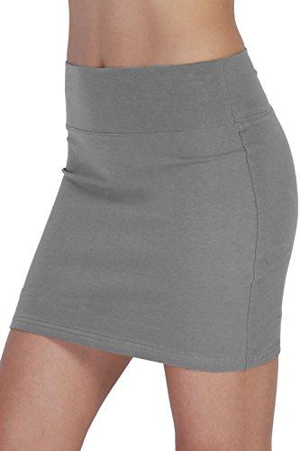 FISOUL Women's Casual Skirt Slim Tight Hip Skirt Nightclub Bodycon Pencil Mini Skirt Grey S