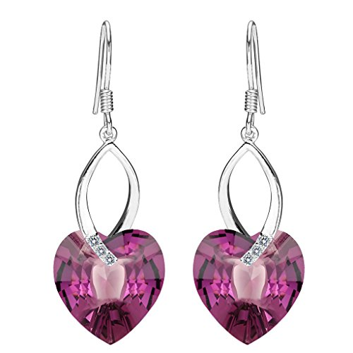 EleQueen 925 Sterling Silver CZ Love Heart French Hook Dangle Earrings Amethyst Color Adorned with Swarovski Crystals
