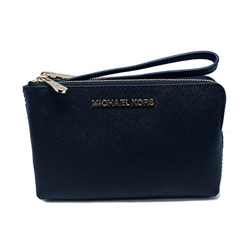 Michael Kors Jet Set Travel Large Double Gusset Top Zip Saffiano Leather Wristlet (Black)